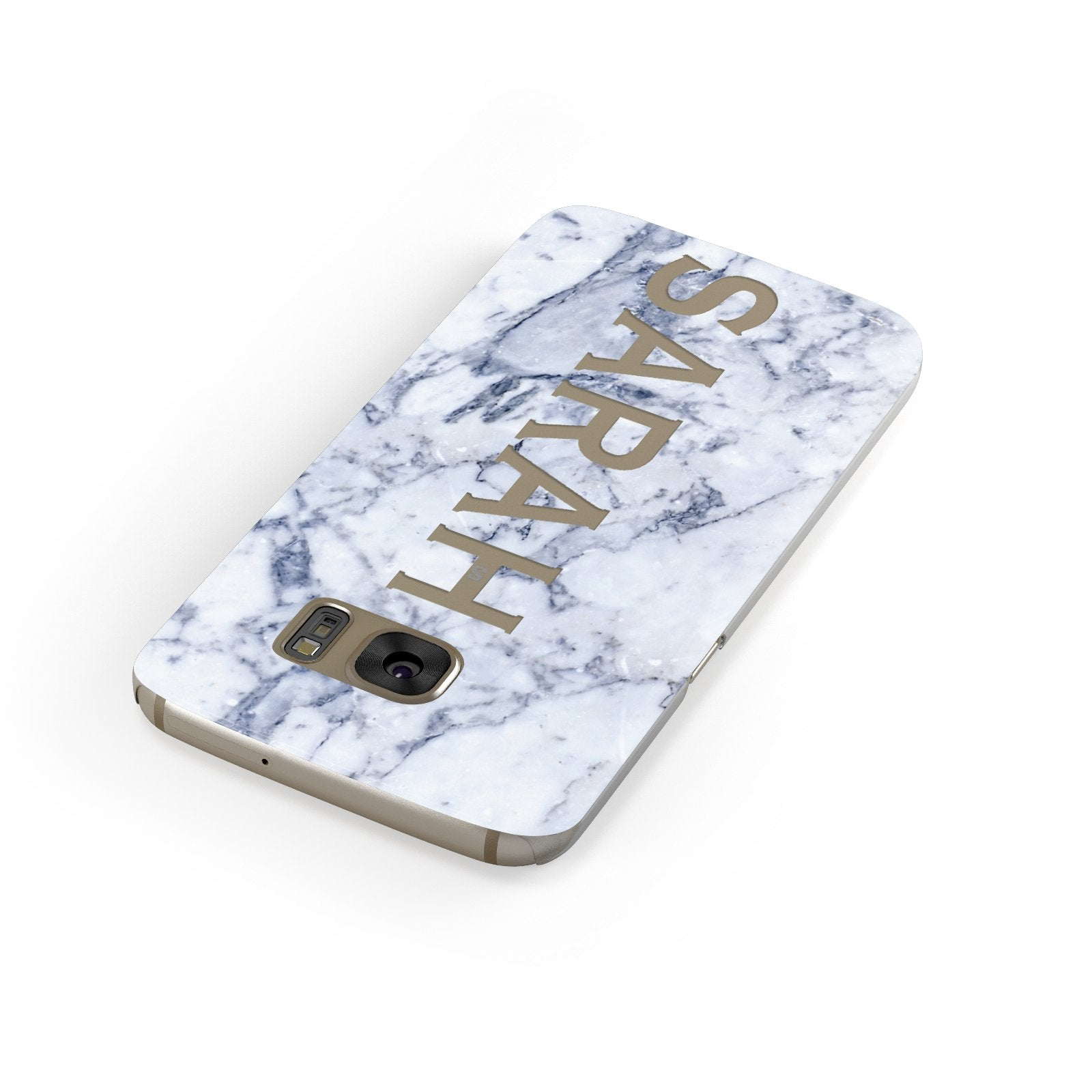Personalised Clear Name Cutout Blue Marble Custom Samsung Galaxy Case Front Close Up