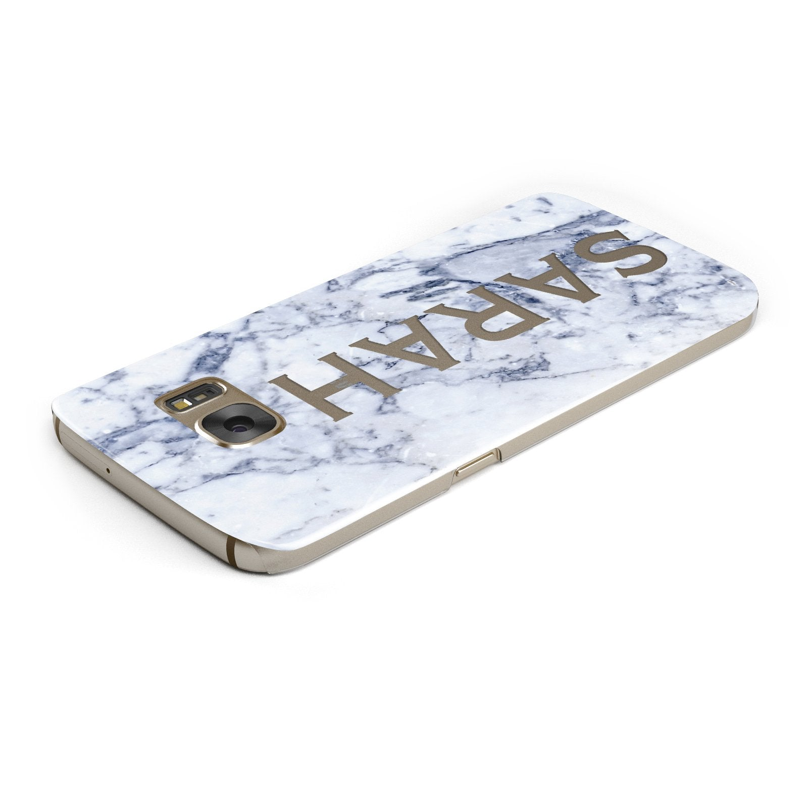 Personalised Clear Name Cutout Blue Marble Custom Samsung Galaxy Case Top Cutout