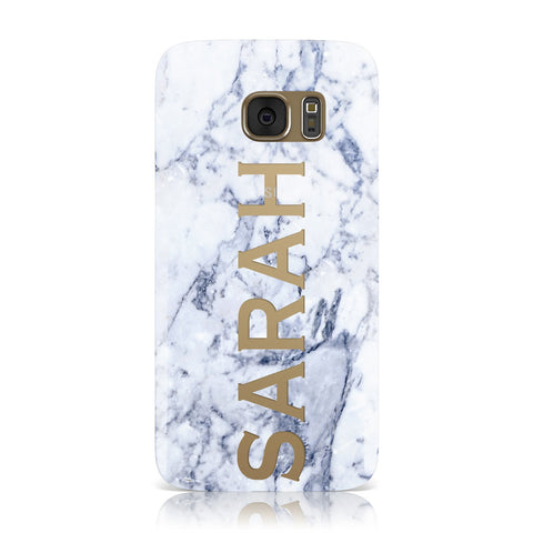 Personalised Clear Name Cutout Blue Marble Custom Samsung Galaxy Case