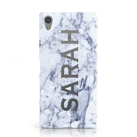 Personalised Clear Name Cutout Blue Marble Custom Sony Xperia Case