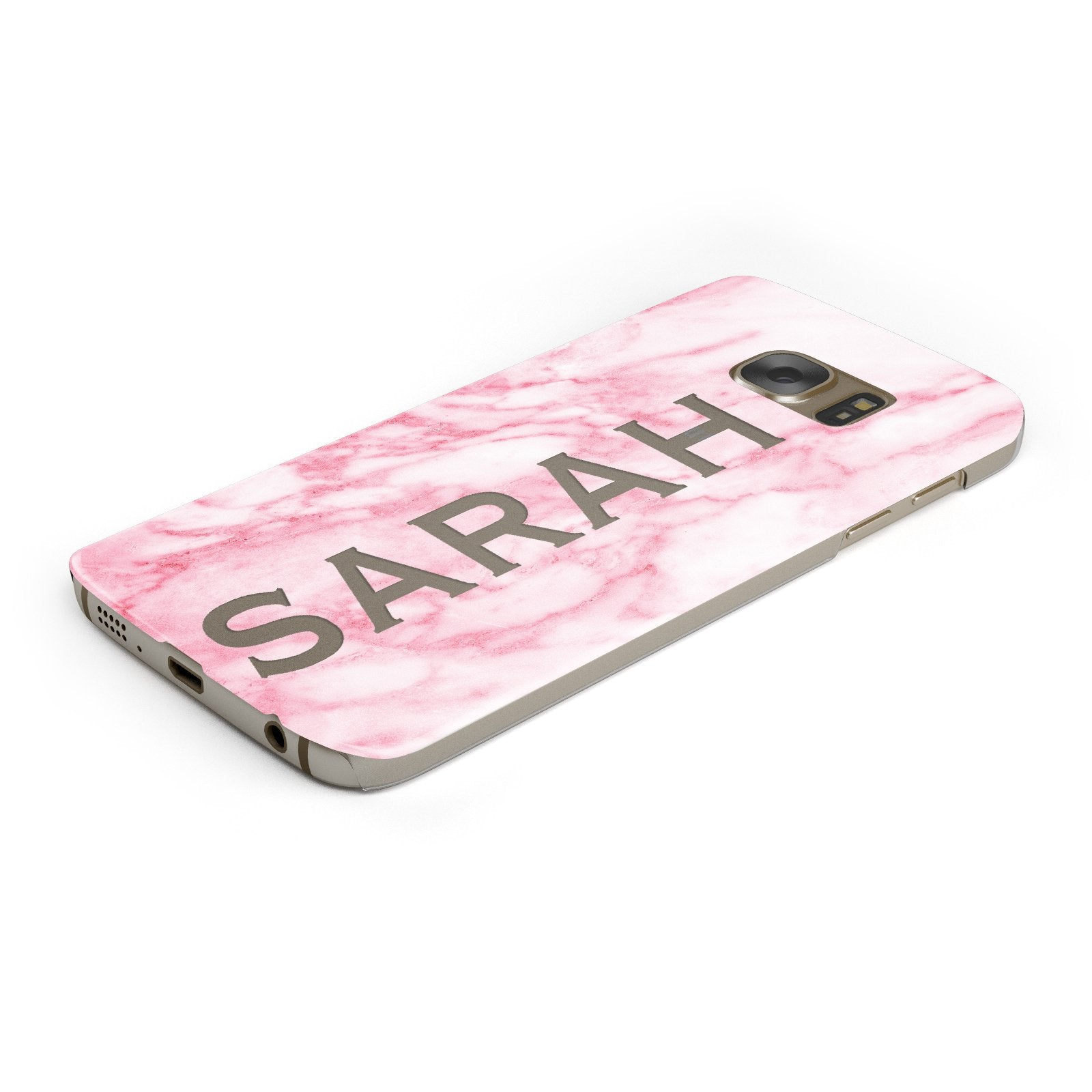 Personalised Clear Name Cutout Pink Marble Custom Samsung Galaxy Case Bottom Cutout