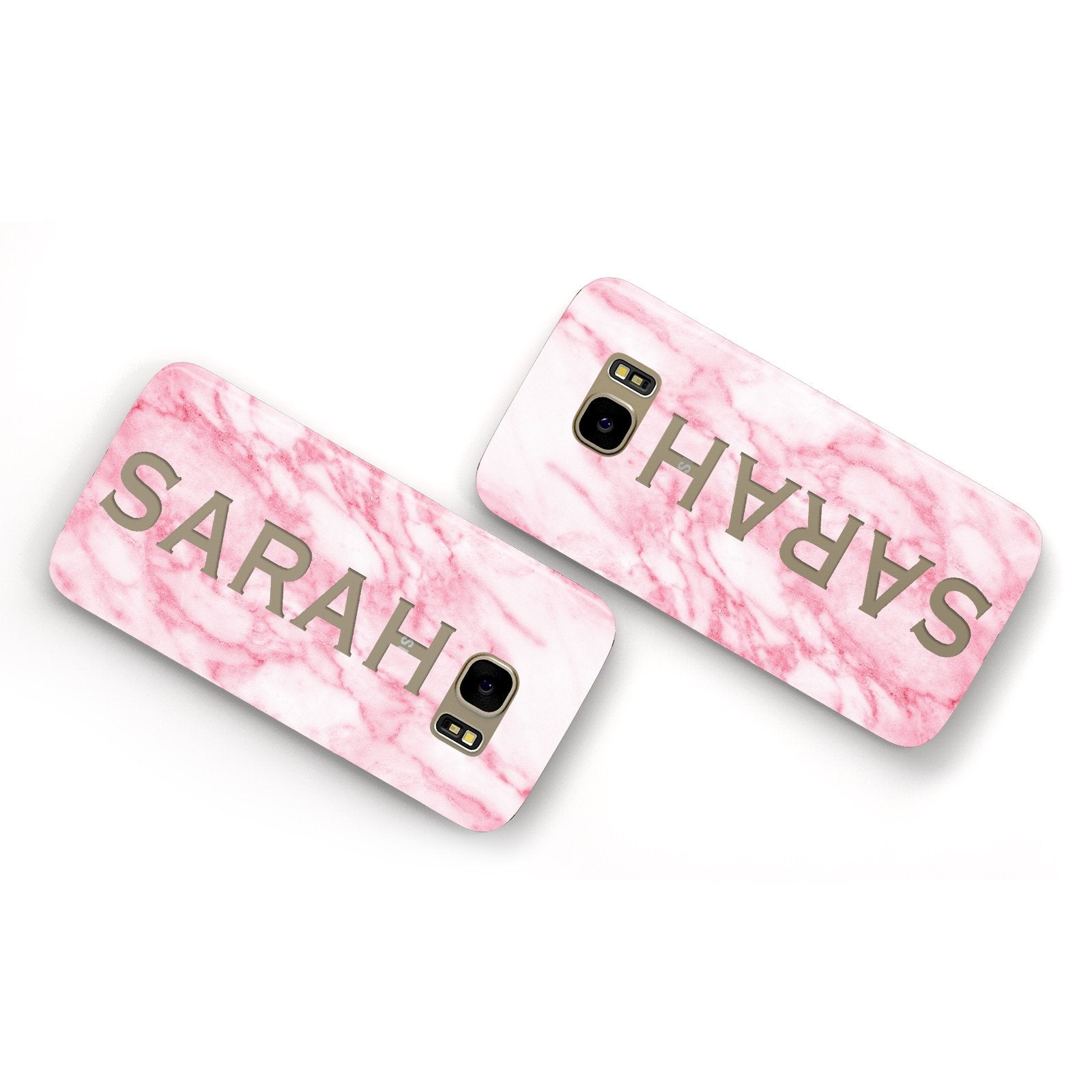 Personalised Clear Name Cutout Pink Marble Custom Samsung Galaxy Case Flat Overview