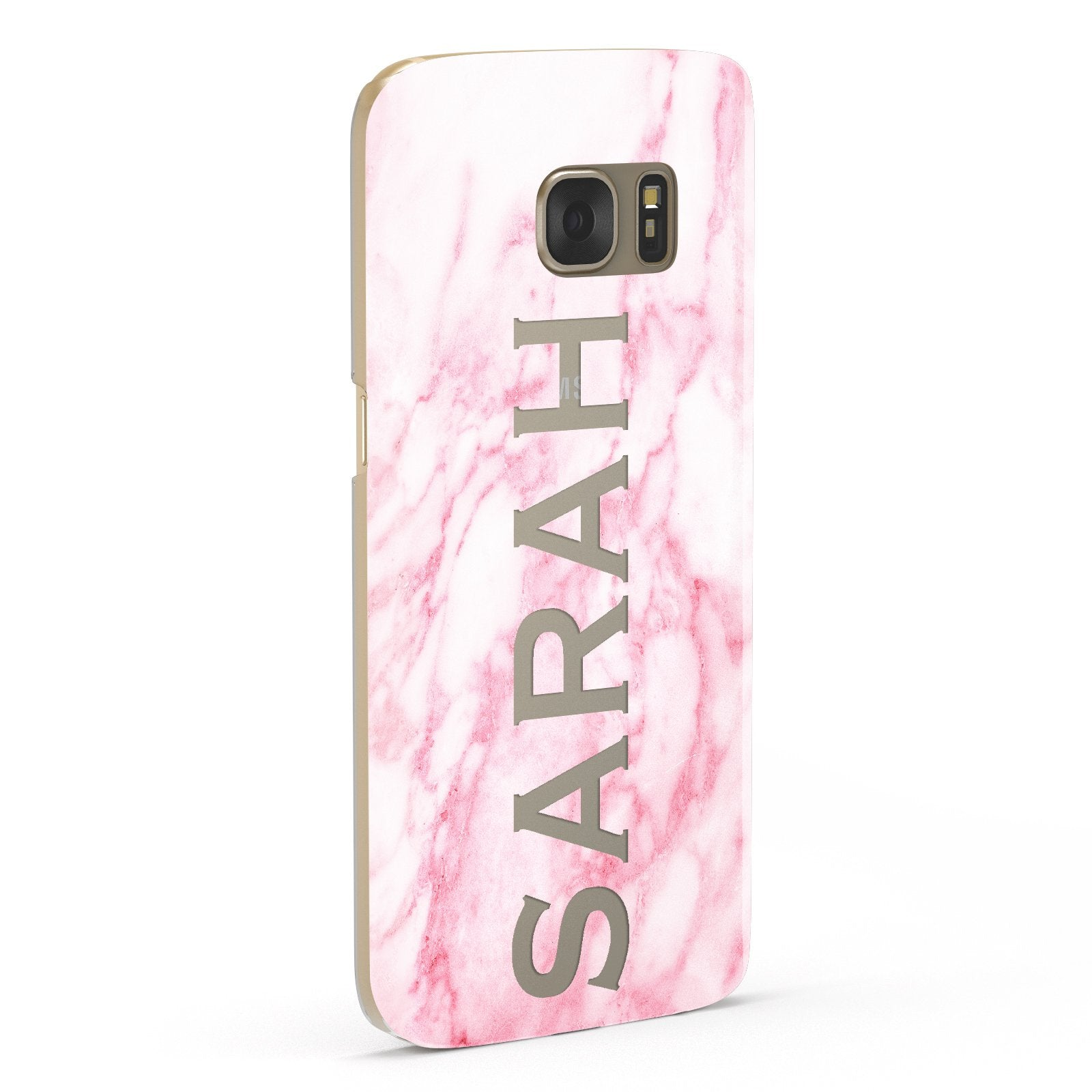 Personalised Clear Name Cutout Pink Marble Custom Samsung Galaxy Case Fourty Five Degrees