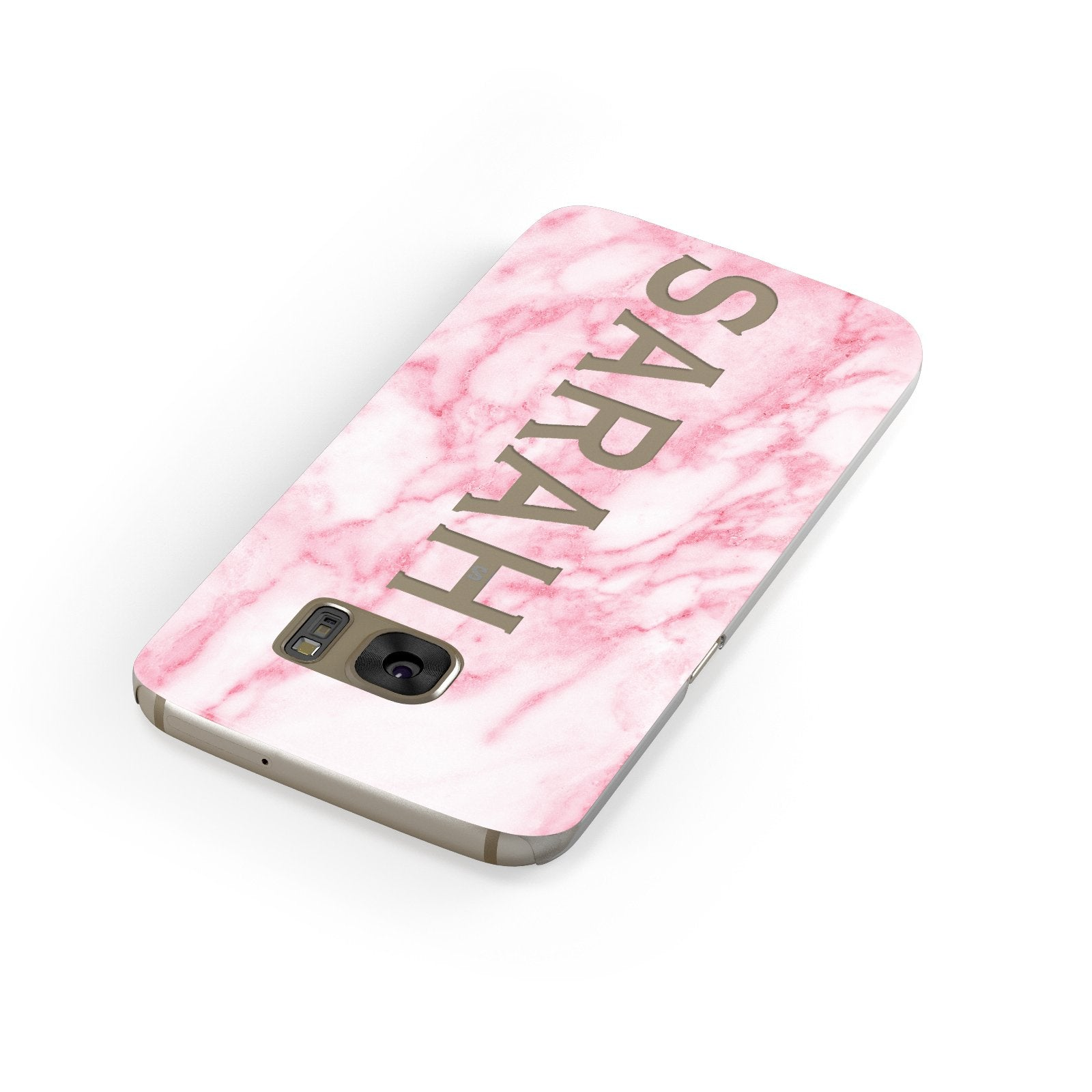Personalised Clear Name Cutout Pink Marble Custom Samsung Galaxy Case Front Close Up