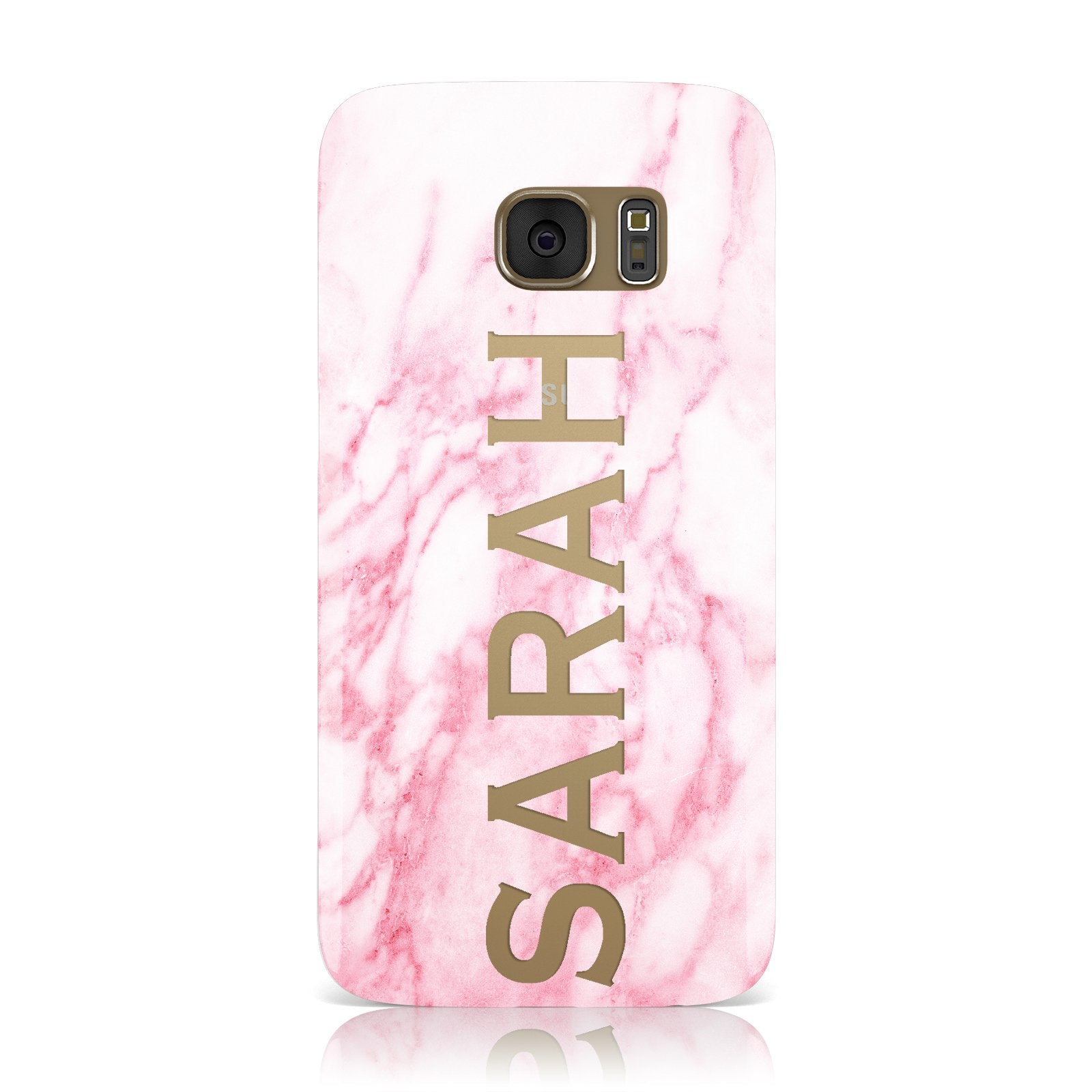 Personalised Clear Name Cutout Pink Marble Custom Samsung Galaxy Case