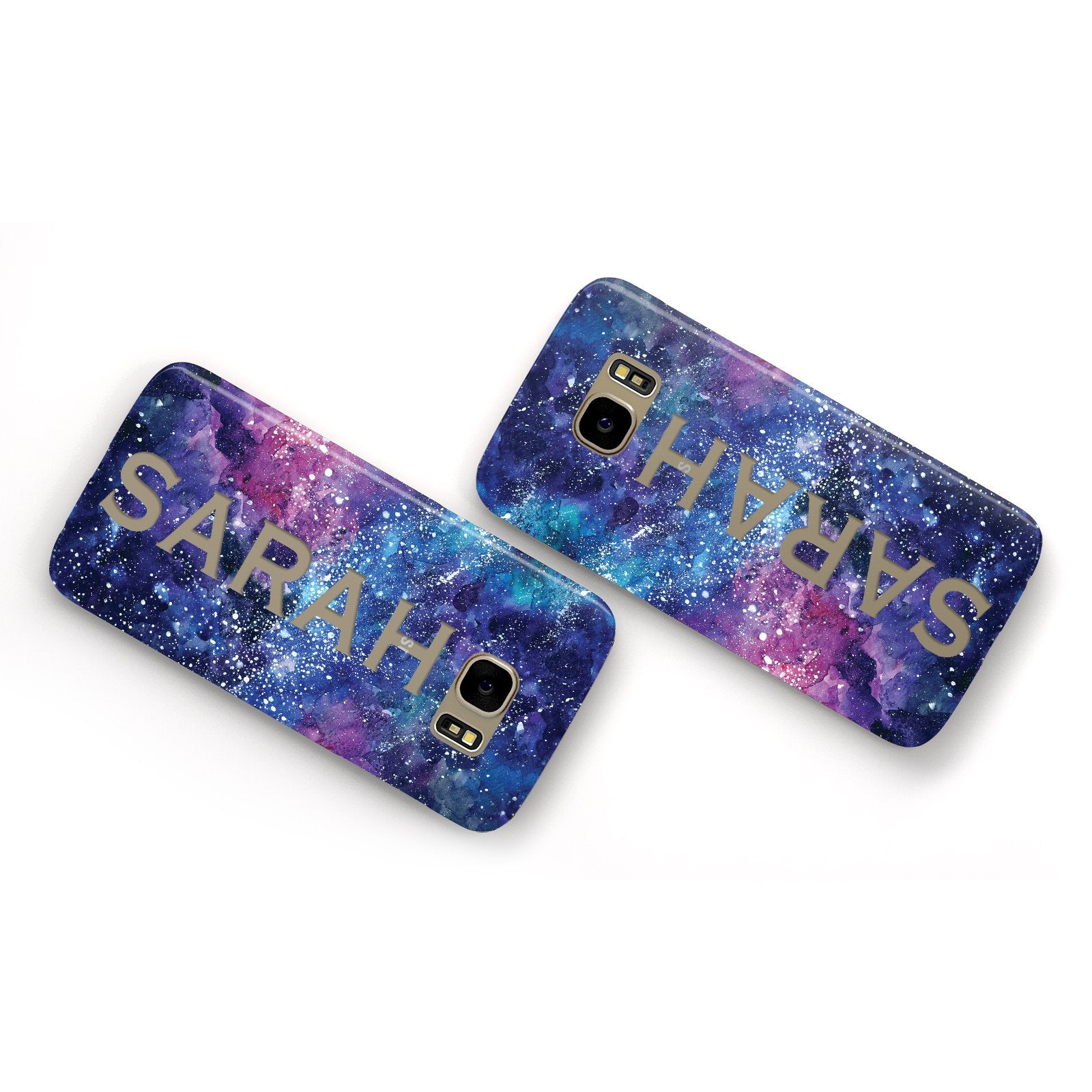 Personalised Clear Name Cutout Space Nebula Custom Samsung Galaxy Case Flat Overview