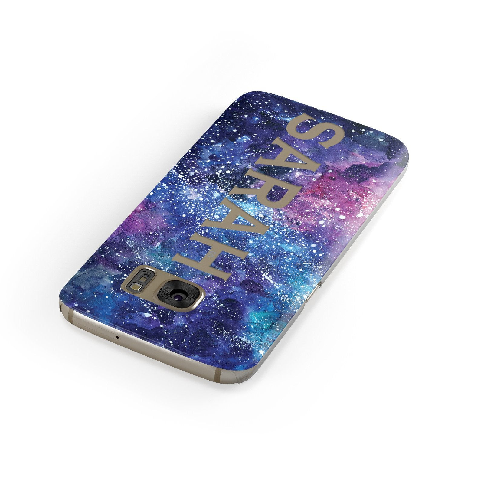 Personalised Clear Name Cutout Space Nebula Custom Samsung Galaxy Case Front Close Up