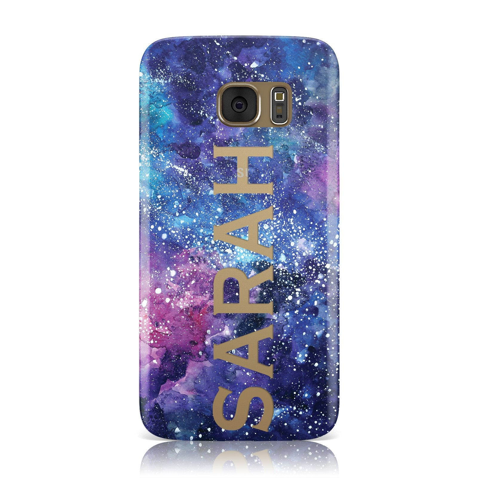 Personalised Clear Name Cutout Space Nebula Custom Samsung Galaxy Case