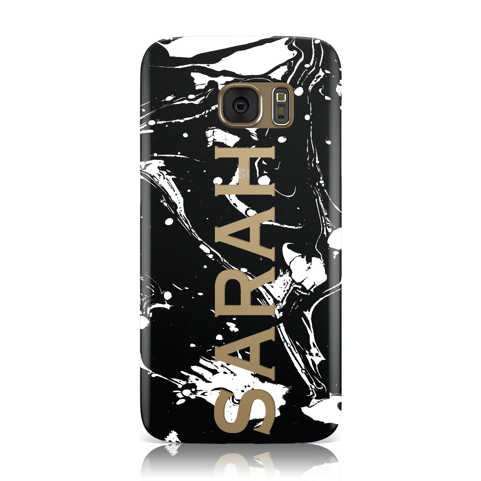 Personalised Clear Name Cutout Swirl Marble Custom Samsung Galaxy Case