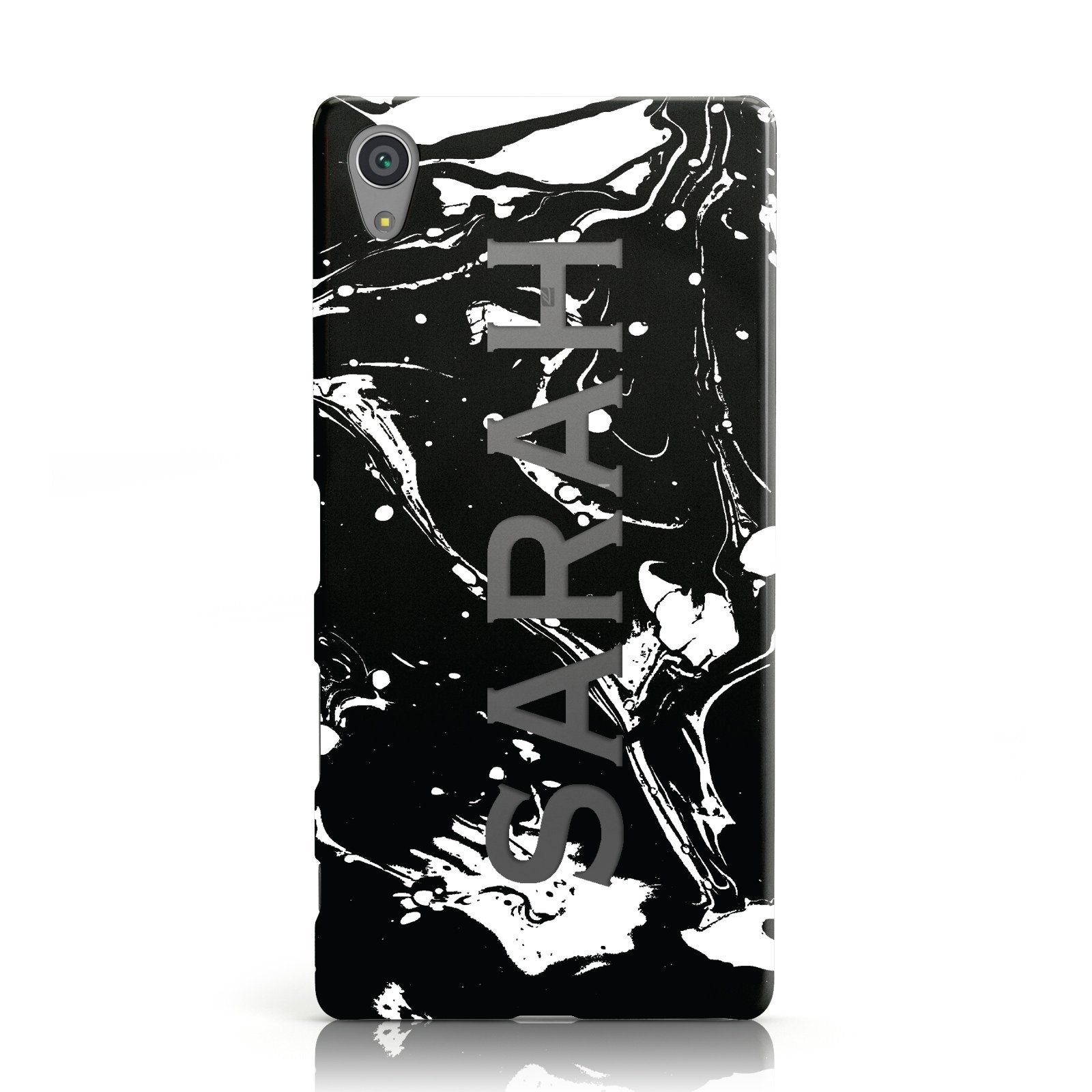 Personalised Clear Name Cutout Swirl Marble Custom Sony Xperia Case