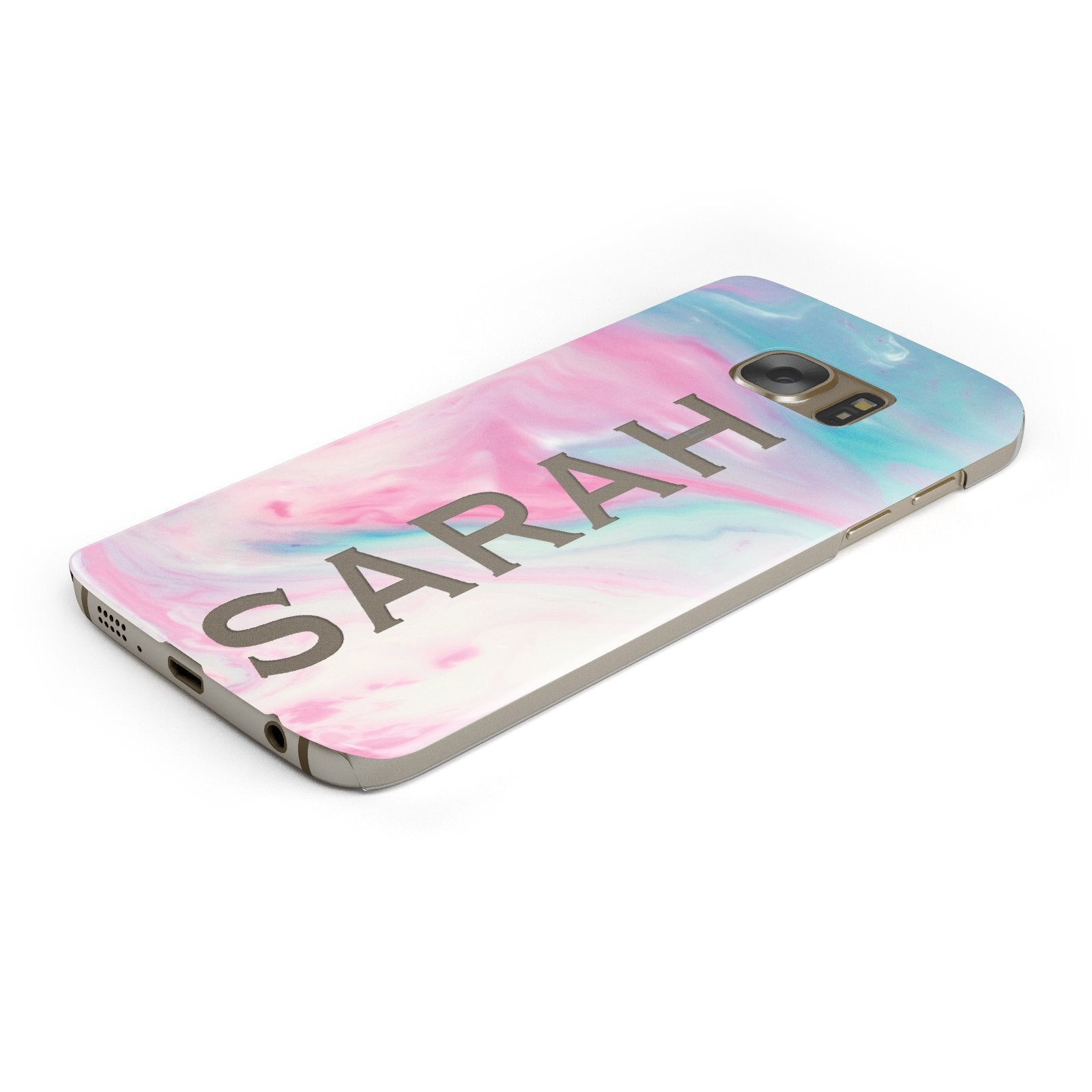 Personalised Clear Name Pastel Unicorn Marble Samsung Galaxy Case Bottom Cutout