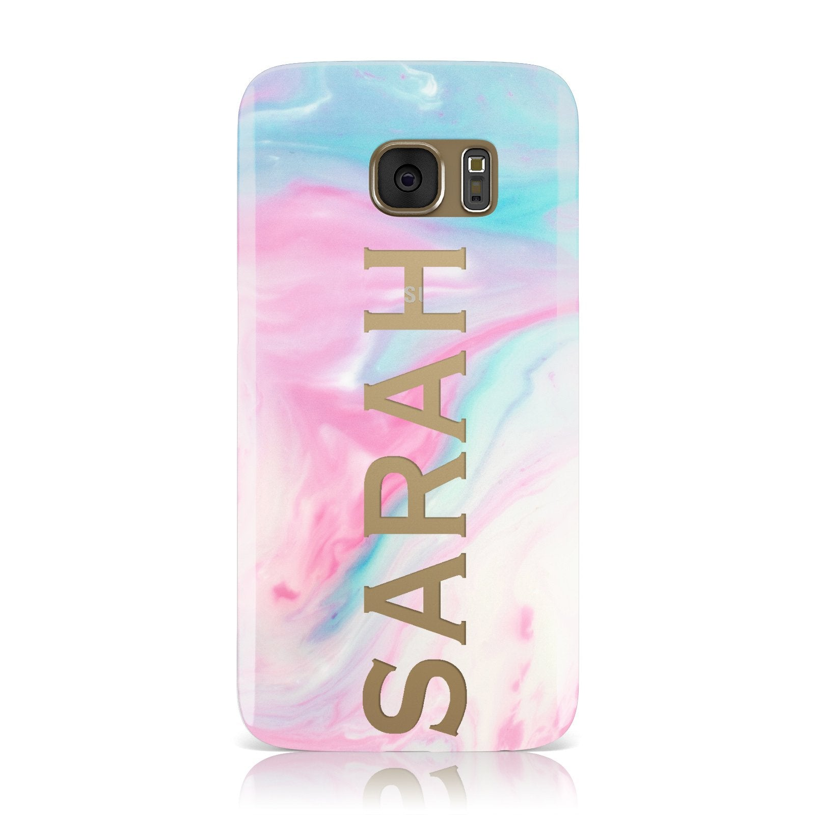 Personalised Clear Name Pastel Unicorn Marble Samsung Galaxy Case