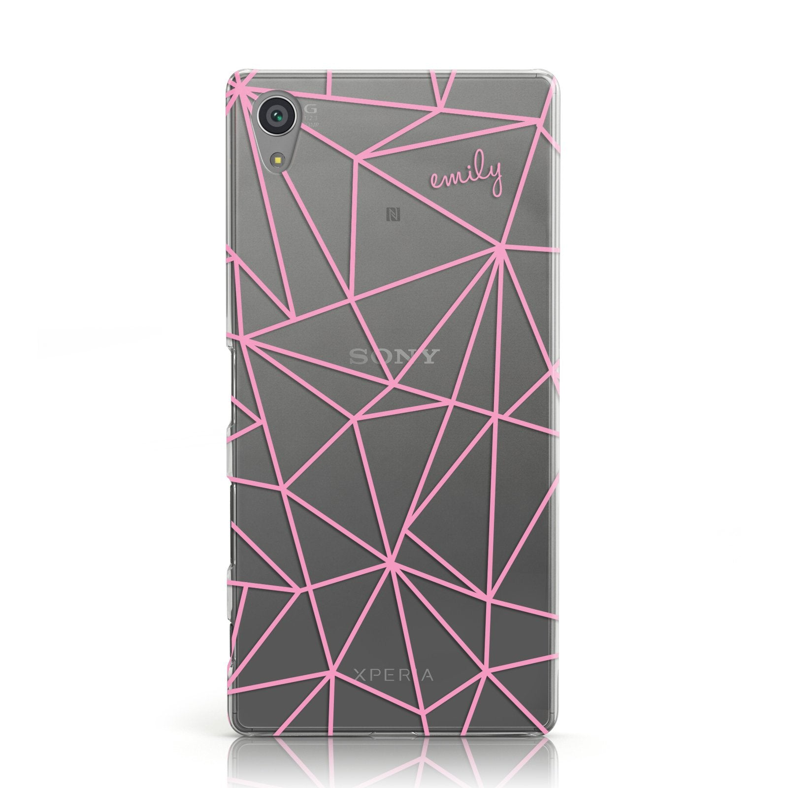 Personalised Clear Outlines & Name Pink Sony Xperia Case