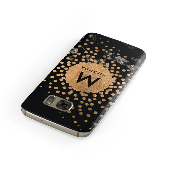 Personalised Copper Black Marble With Name Samsung Galaxy Case Front Close Up