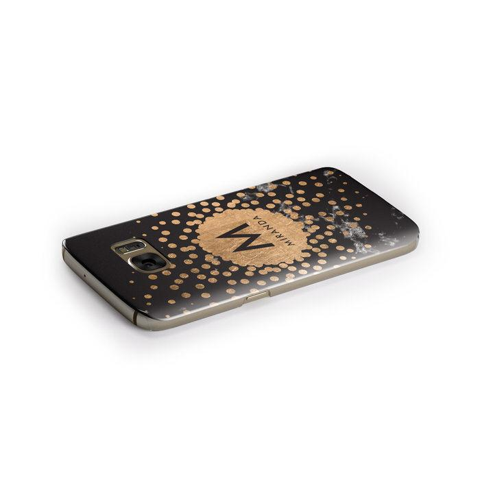 Personalised Copper Black Marble With Name Samsung Galaxy Case Side Close Up