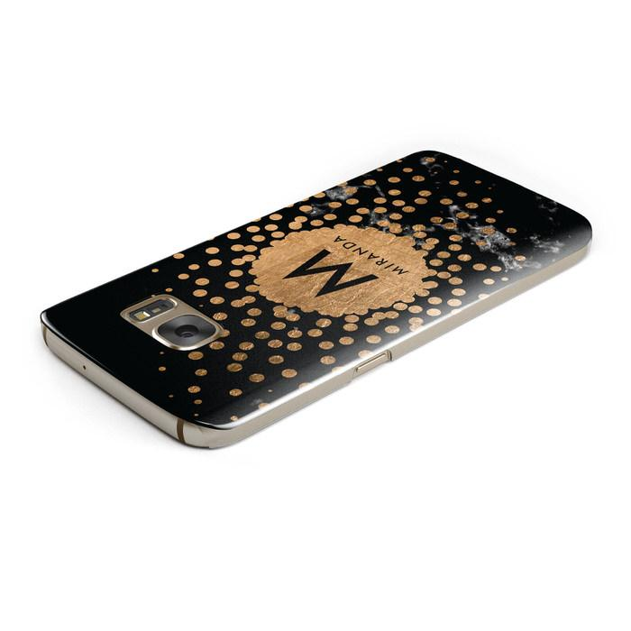 Personalised Copper Black Marble With Name Samsung Galaxy Case Top Cutout