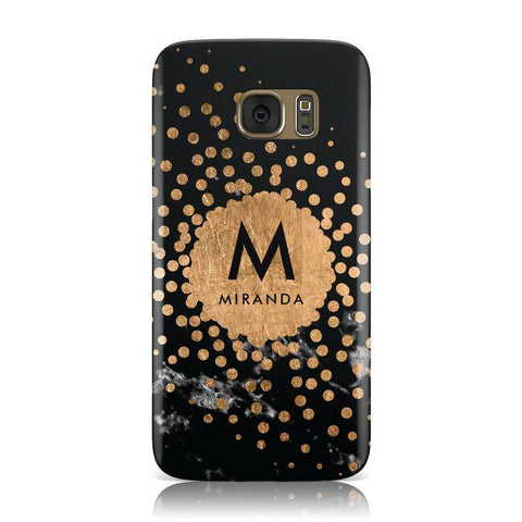Personalised Copper Black Marble With Name Samsung Galaxy Case