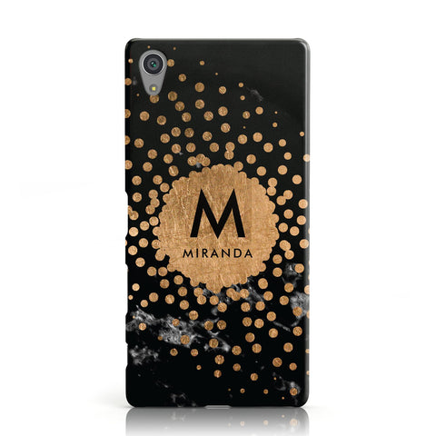 Personalised Copper Black Marble With Name Sony Xperia Case