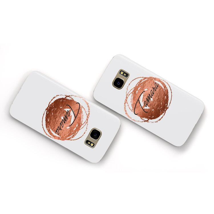 Personalised Copper Effect Custom Initials Samsung Galaxy Case Flat Overview