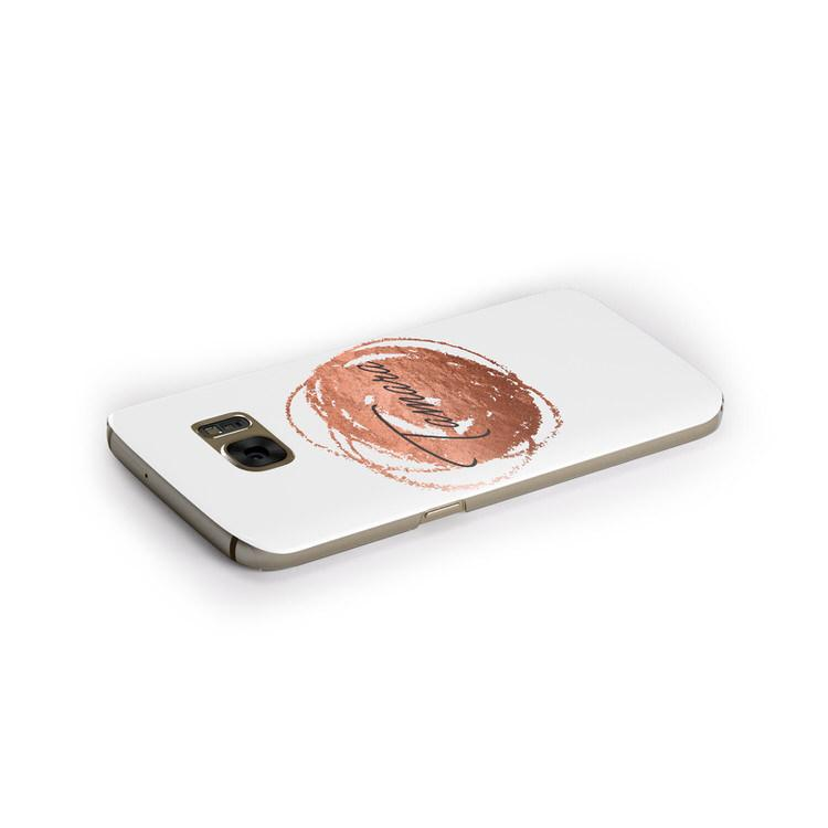Personalised Copper Effect Custom Initials Samsung Galaxy Case Side Close Up