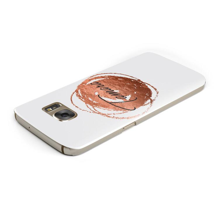 Personalised Copper Effect Custom Initials Samsung Galaxy Case Top Cutout