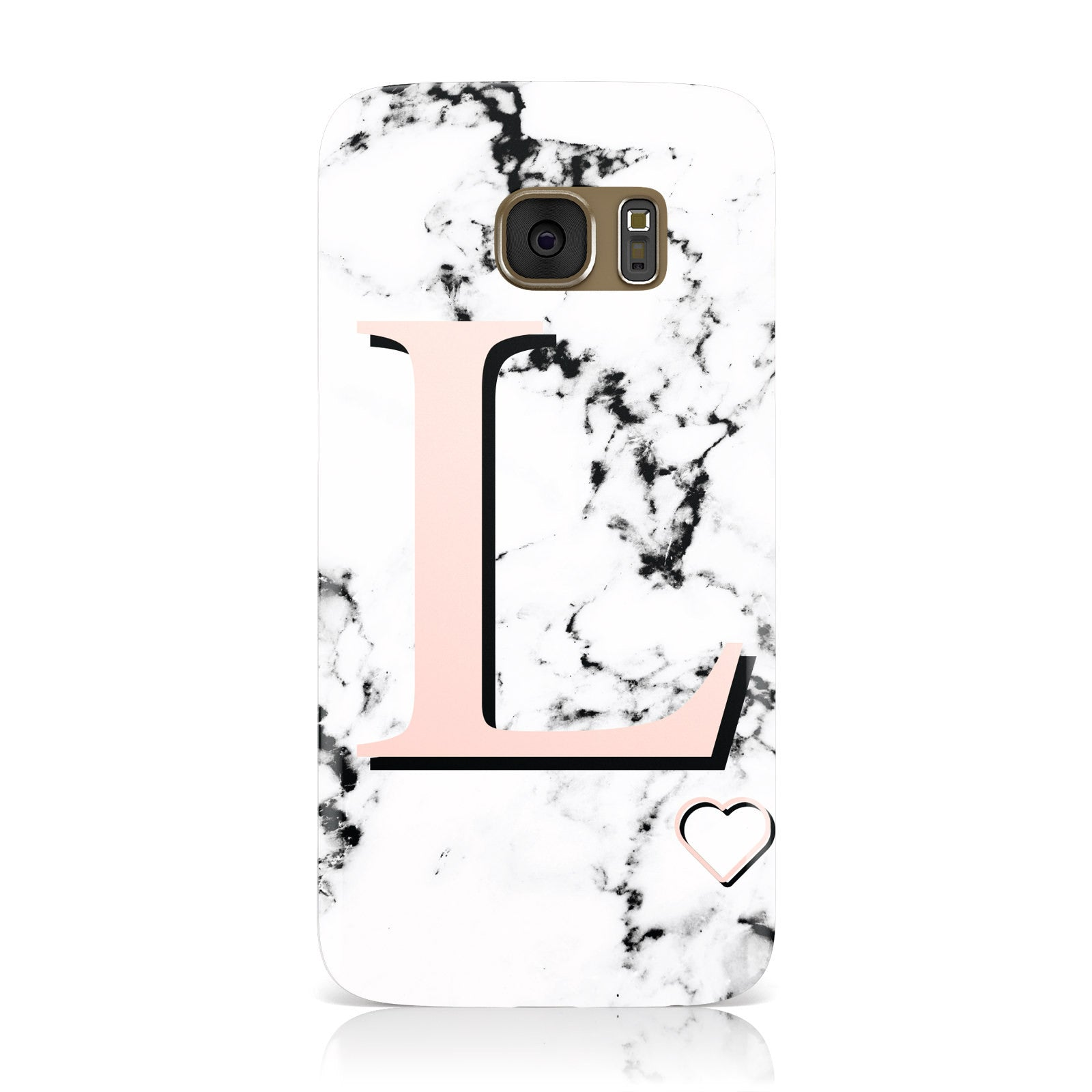 Personalised Coral Heart Initialled Marble Samsung Galaxy Case