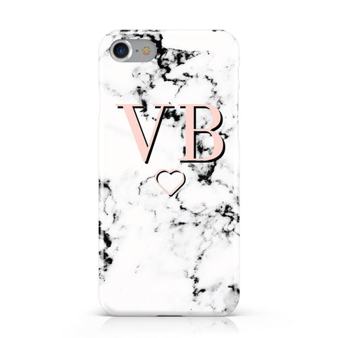 Personalised Coral Initials Heart Marble Apple iPhone Case
