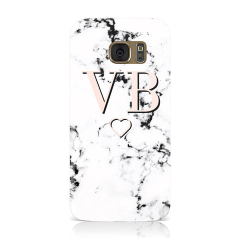 Personalised Coral Initials Heart Marble Samsung Galaxy Case