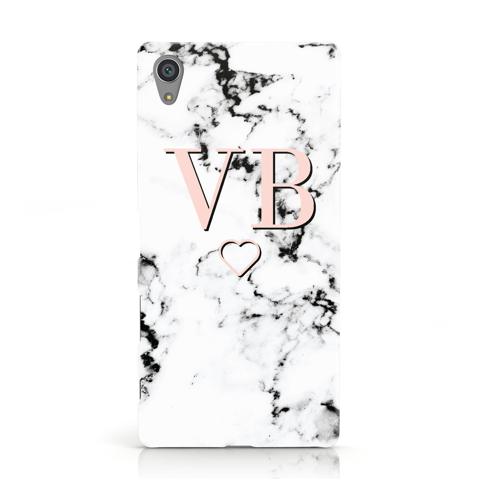 Personalised Coral Initials Heart Marble Sony Xperia Case