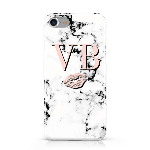 Personalised Coral Initials Lips Marble Apple iPhone Case
