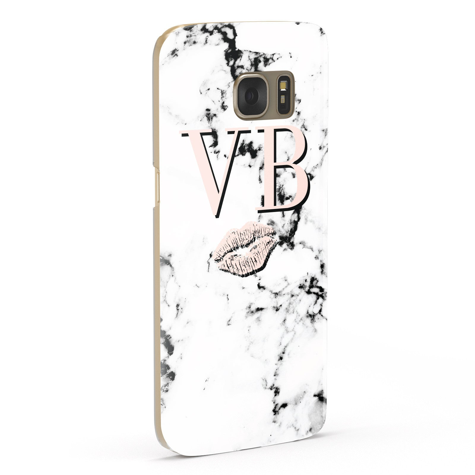 Personalised Coral Initials Lips Marble Samsung Galaxy Case Fourty Five Degrees