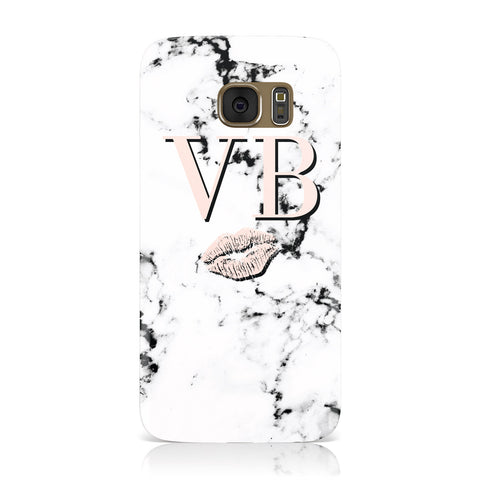 Personalised Coral Initials Lips Marble Samsung Galaxy Case
