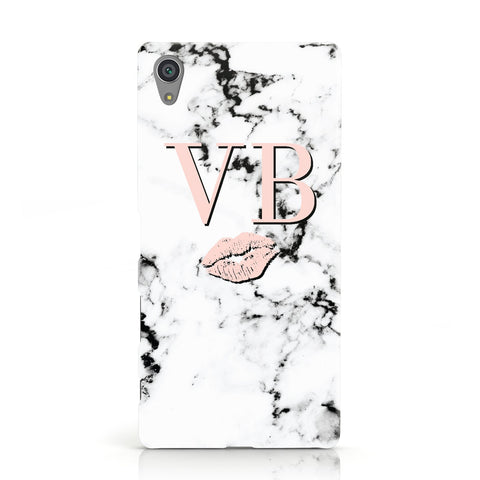 Personalised Coral Initials Lips Marble Sony Xperia Case