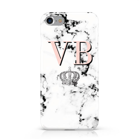 Personalised Coral Initials Marble Crown Apple iPhone Case