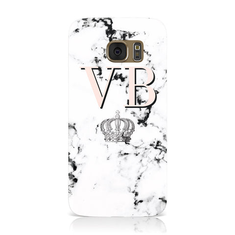 Personalised Coral Initials Marble Crown Samsung Galaxy Case
