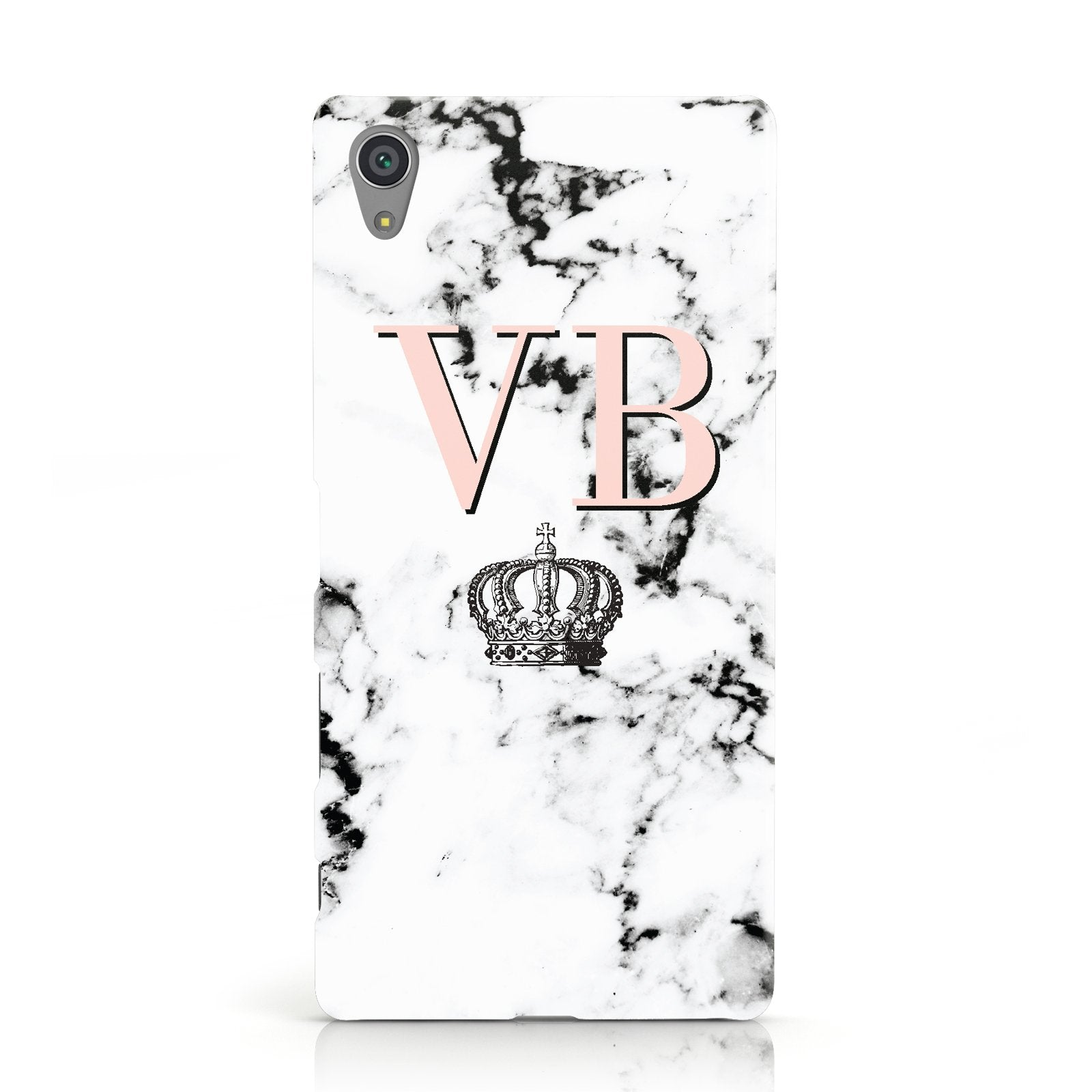 Personalised Coral Initials Marble Crown Sony Xperia Case