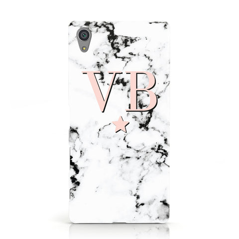 Personalised Coral Initials Star Marble Sony Xperia Case