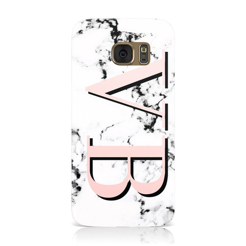 Personalised Coral Malble Initials Samsung Galaxy Case