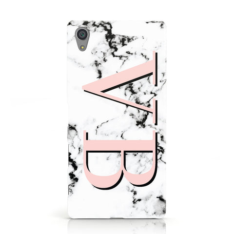 Personalised Coral Malble Initials Sony Xperia Case