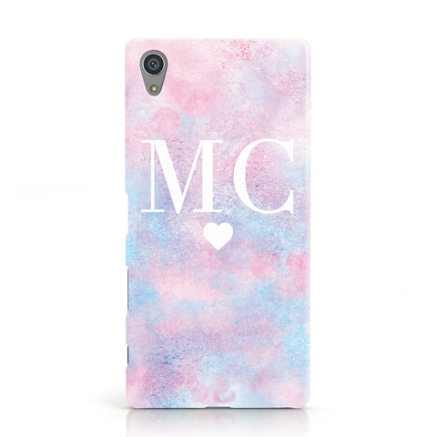 Personalised Cotton Candy Marble & Initials Sony Xperia Case