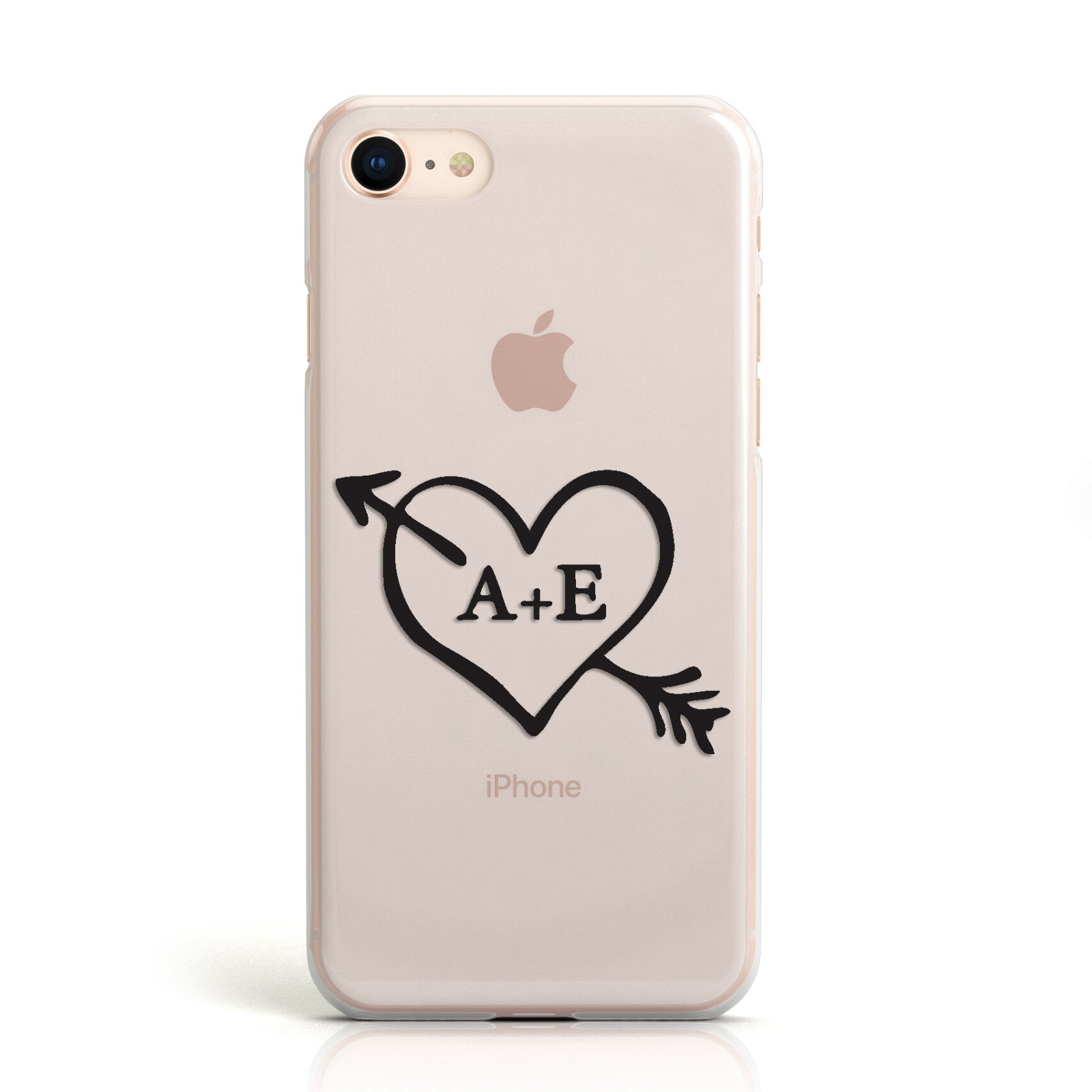 Personalised Couples Black Initials Arrow Clear Apple iPhone Case