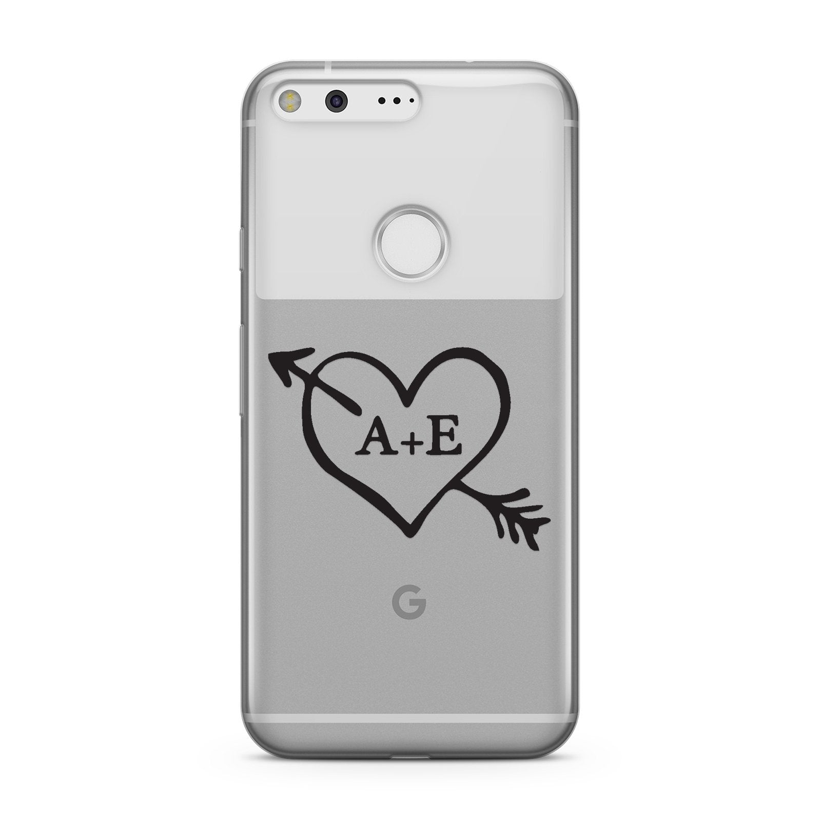 Personalised Couples Black Initials Arrow Clear Google Case