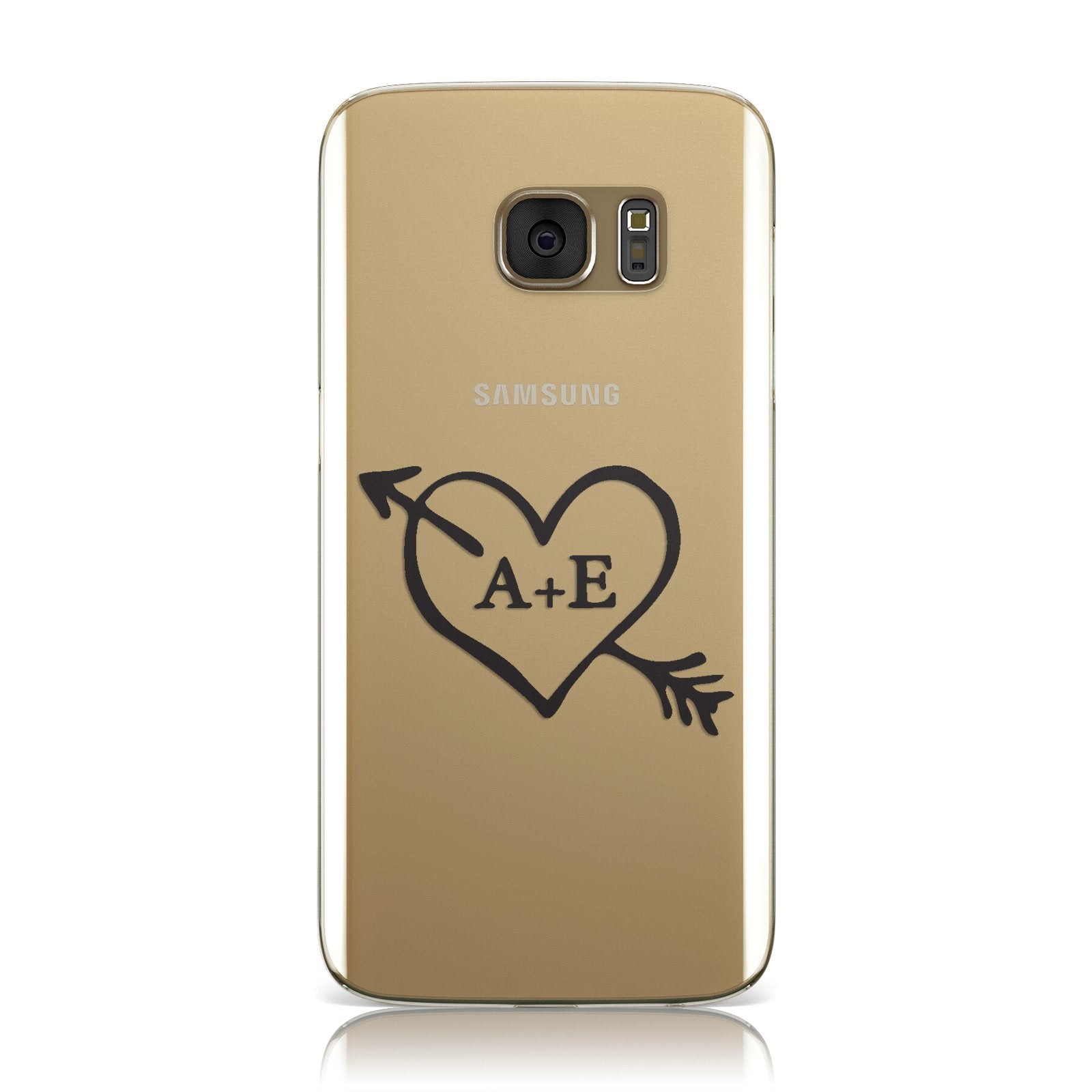 Personalised Couples Black Initials Arrow Clear Samsung Galaxy Case