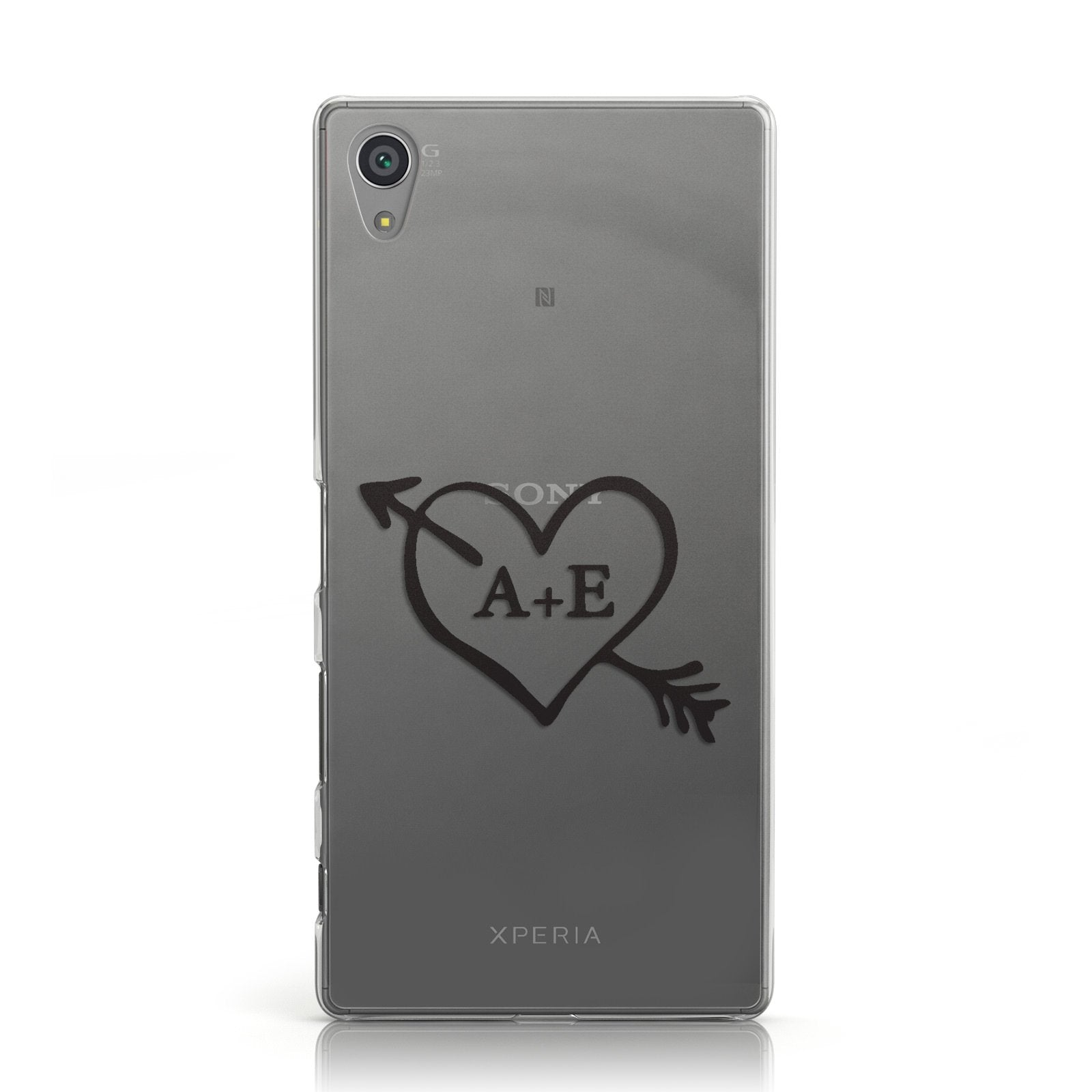 Personalised Couples Black Initials Arrow Clear Sony Xperia Case