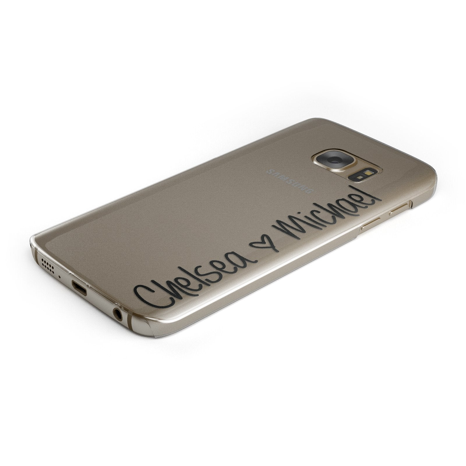Personalised Couples Names Handwritten Black Clear Samsung Galaxy Case Bottom Cutout