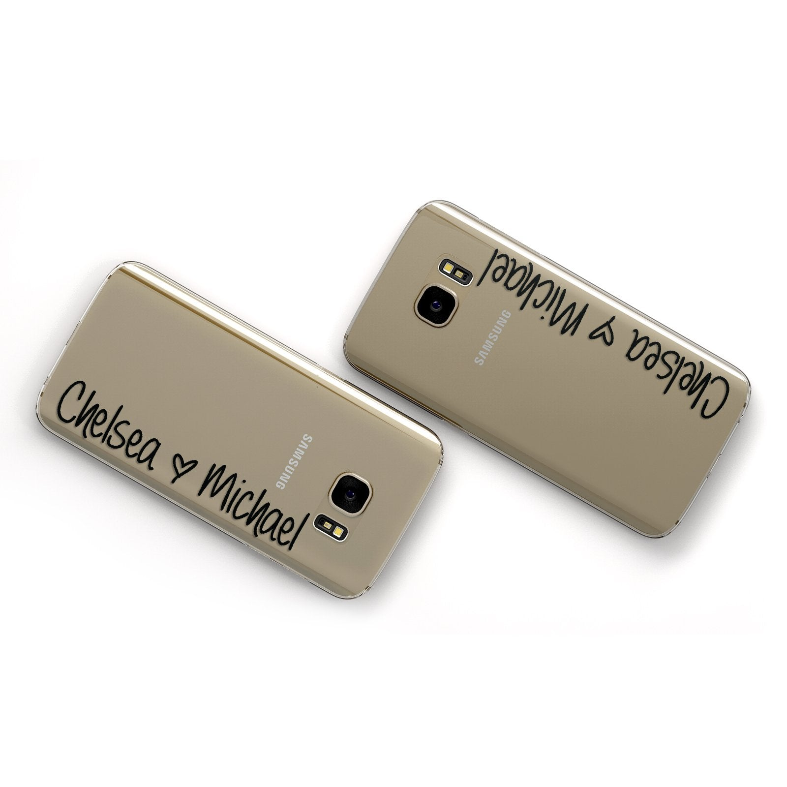 Personalised Couples Names Handwritten Black Clear Samsung Galaxy Case Flat Overview