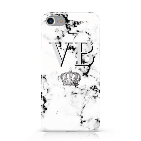Personalised Crown Marble Initialed Grey Apple iPhone Case