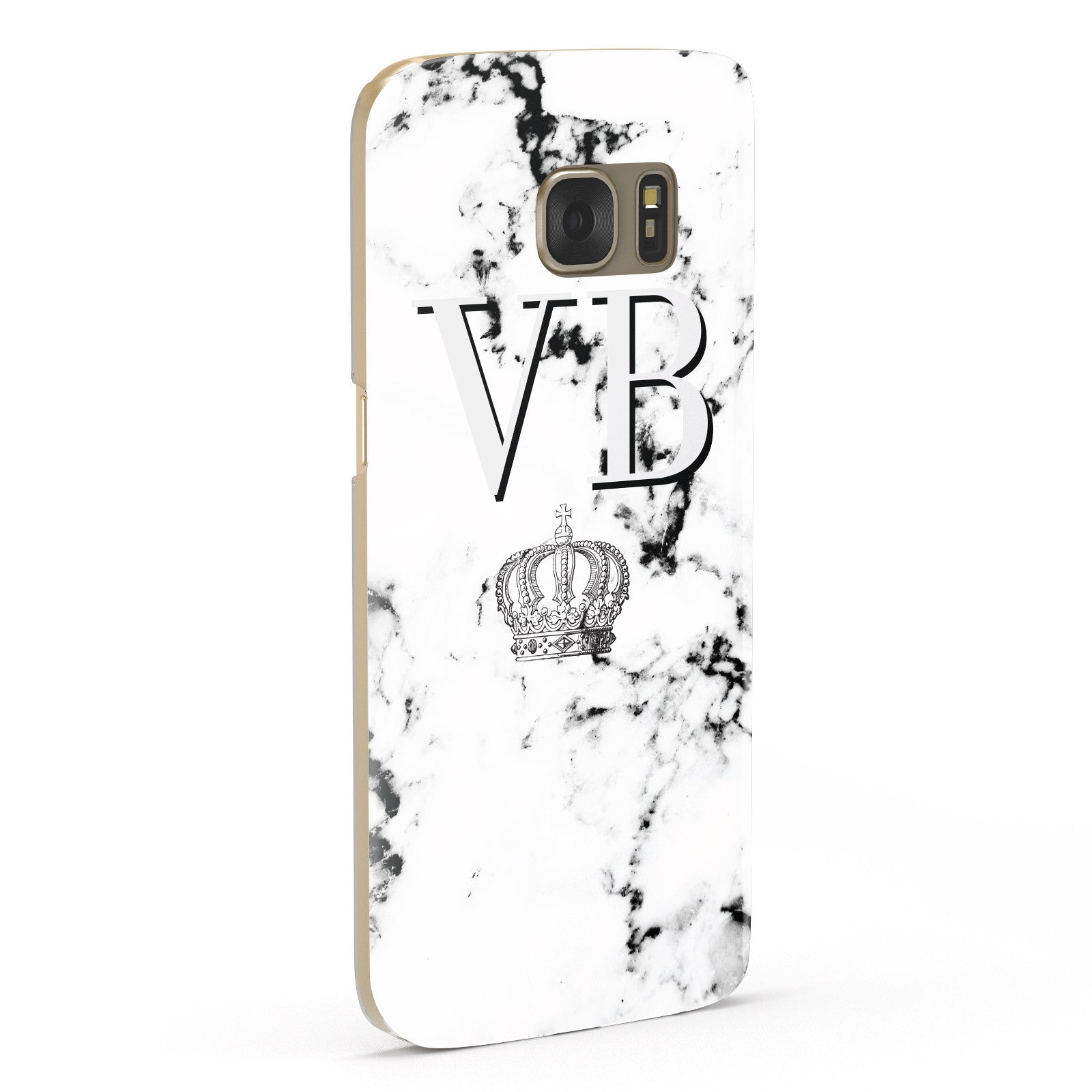 Personalised Crown Marble Initialed Grey Samsung Galaxy Case Fourty Five Degrees