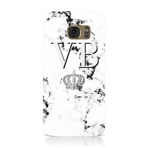 Personalised Crown Marble Initialed Grey Samsung Galaxy Case