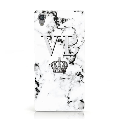 Personalised Crown Marble Initialed Grey Sony Xperia Case
